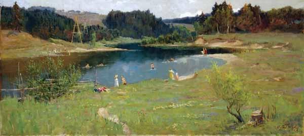 Яблоков А.И. «У реки» Холст, масло. 80х180 см. 1958 г.