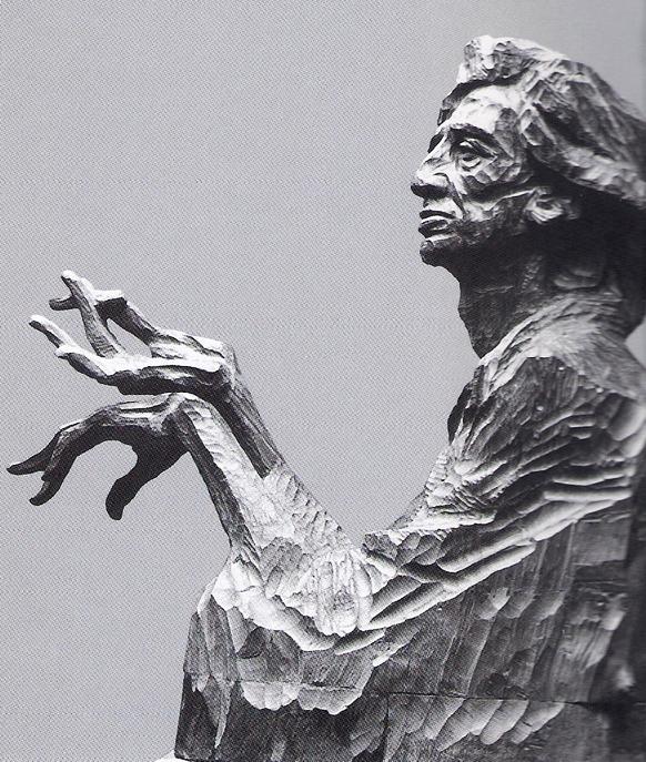 О. Эльдаров. Портрет художника Саттара Бахлулзаде. Дерево.