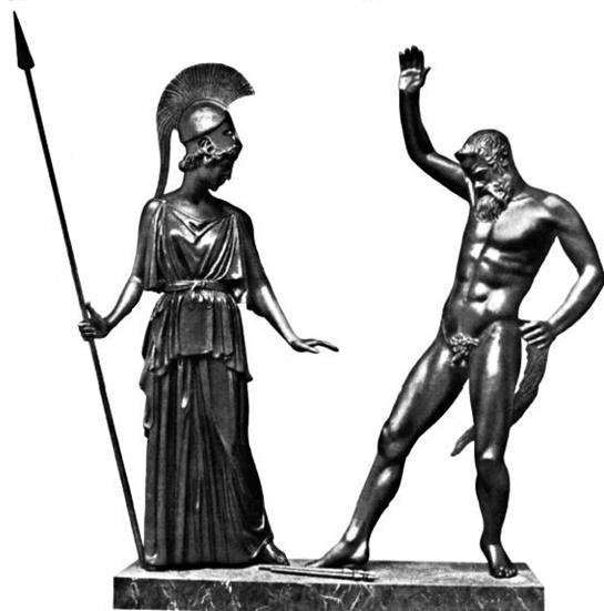 Мирон «Афина и Марсий». Середина V века до н.э. Реконструкция.