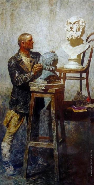Гелий Коржев. Триптих «Коммунисты». Левая часть триптиха  - «Гомер (Рабочая студия)». Холст, масло. 290 x 130 см