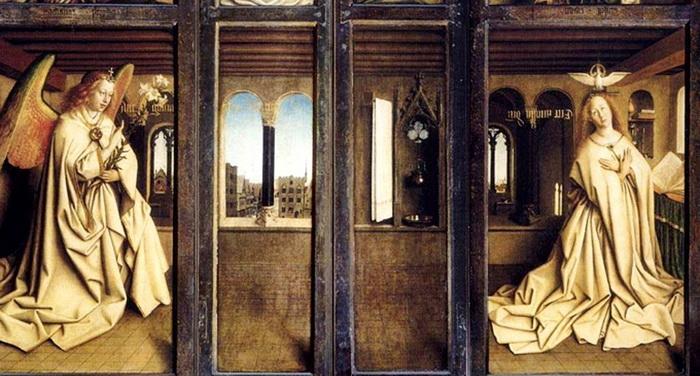 Благовещение, Гентский алтарь (закрытые створки), Ян ван Эйк, 1432 год.