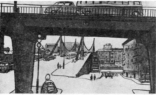Алексей Дементьевич Шмаринов. Крымский мост. Литография.