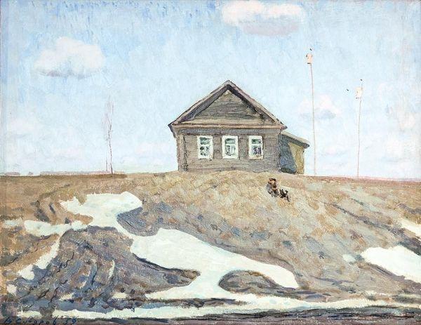 В. М. Сидоров «Последний сходит снег» Картон, масло. 52x63 см. 1959 г.