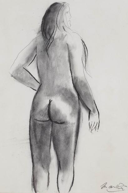 Дж. Манцу «Обнажённая со спины» Бумага, карандаш. 48х36 см Galleria d'Arte Maggiore, Болонья, Италия