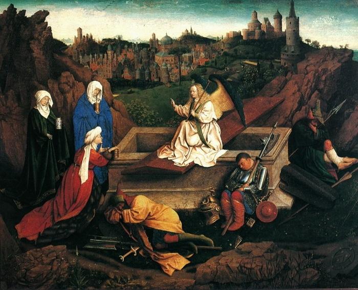 Губерт ван Эйк. «Явление ангела женам-мироносицам» (Три Марии у гроба) 1425 г. Музей Бойманса-ван Бёнингена.