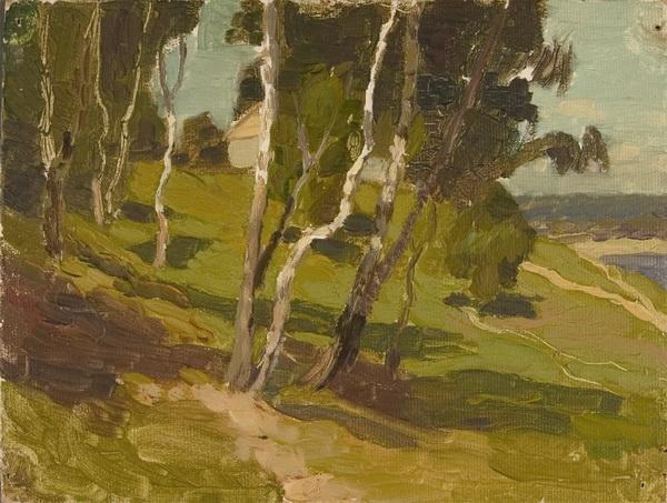 В.Б. Скуридин «Лето в Тарусе» Картон, масло. 1954 г.