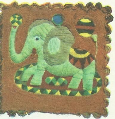 Грант Тер-Гукасян, 7 лет. Слон с мячами. Гобелен.
