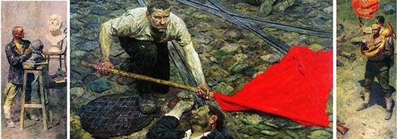 Гелий Коржев. Триптих «Коммунисты». Холст, масло. 156 x 290 см  Государственный Русский музей