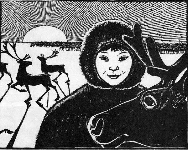 Афанасий Мунхалов «Друзья» Линогравюра. 1964 г.