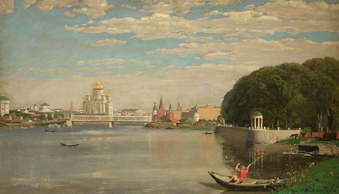 Аполлинарий Васнецов  «Вид на Крымский мост. Кремль и храм Христа Спасителя со стороны Нескучного сада»