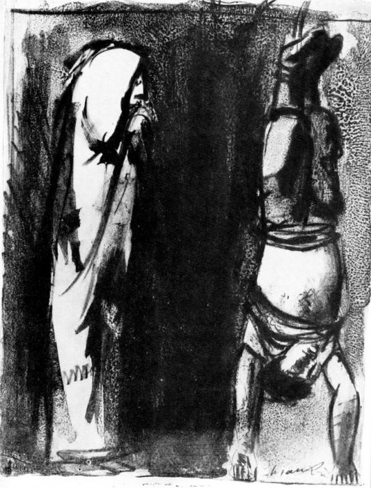 Дж. Манцу «Война», 1953 г. Литография.