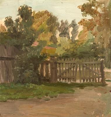 В.Б. Скуридин «Ворота в Тарусе» Бумага, масло. 1955 г.