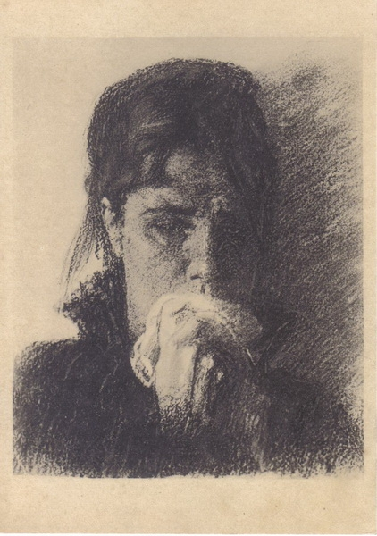 И. Крамской. Голова плачущей женщины. Этюд для картины «Неутешное горе». Соус, графитный карандаш. 1883—1884 гг.
