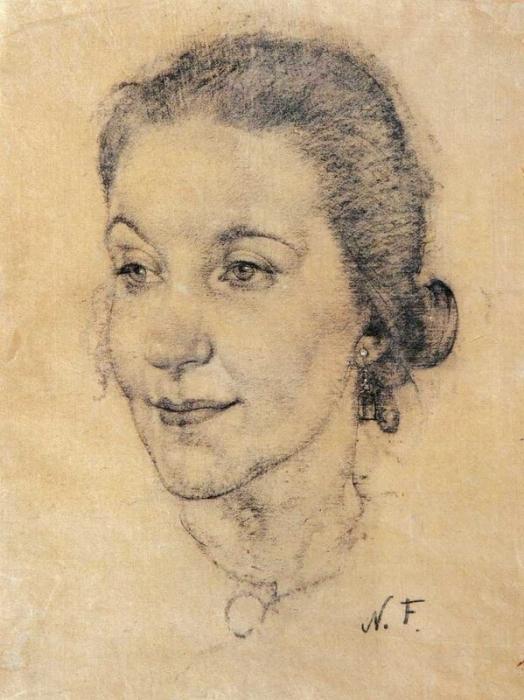 Портрет М.И.Коненковой. (жены скульптора С.Т.Конёнкова) 1934 г.