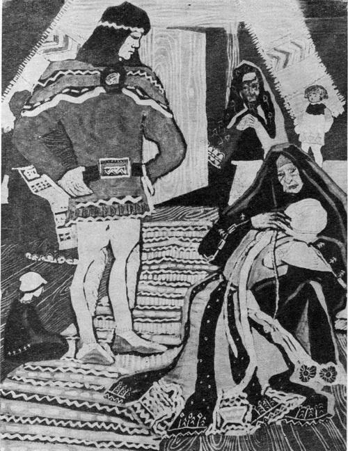 Тамара Григорьевна Юфа. Плач невесты. Иллюстрация к «Калевале». Бумага, тушь, гуашь, акварель. 1963 г.