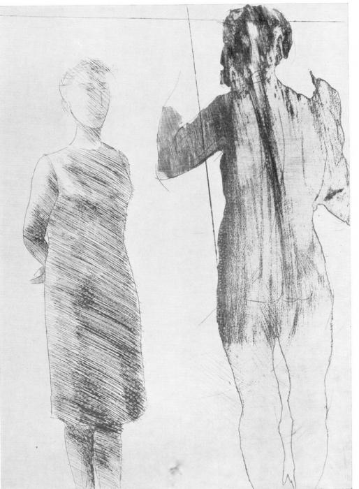 Дж. Манцу «Художник и модель» 1964 г. Офорт.