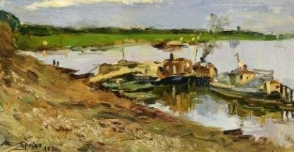 Бройдо Ирина Георгиевна На реке. Картон, масло. 16,5 х 34 см 1950 г.