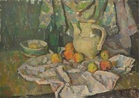 В.Б. Скуридин «Натюрморт с персиками» картон, масло. 50х70 см 1975 г.