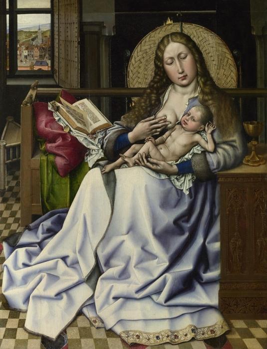 Робер Кампен. Мадонна с младенцем перед каминным экраном. Национальная галерея. Лондон. Великобритания. Масло, дерево. 63 Х 49 см