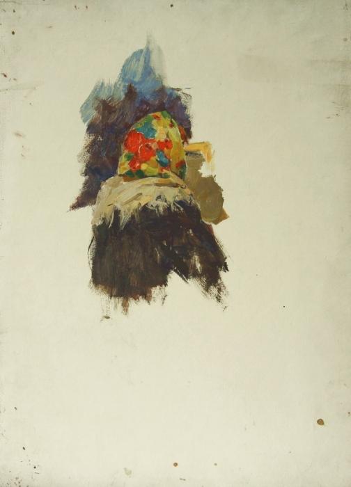 В.Г. Гремитских «Новый платок» Картон, масло; 50х34,5 см, 1960-е годы.