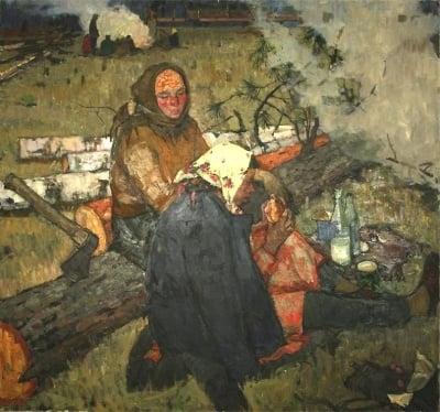 Бройдо Ирина Георгиевна. На лесосеке. 1960 г.