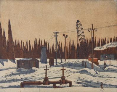 Олег  Юнтунен «Солнечное утро»  Бумага, цветной офорт.  1984 г.