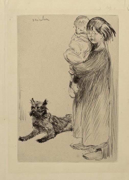 Стейнлен. Девочка с маленьким ребенком на руках. Бумага, офорт.  27,8х20 см  Государственный Эрмитаж.