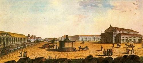 Жан Балтазар де ла Траверс  «Большой театр в Петербурге» 1790-е гг. Собрание И.С. Зильберштейна. Москва.