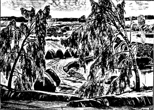 А. Колчанов. Сенокос. Из серии «Земля Кировская». 1981 г. Ксилография.