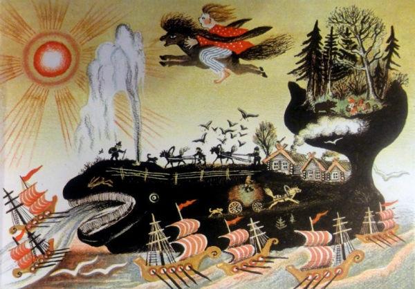 Юрий-Васнецов. Кит. Иллюстрация к сказке П.П.Ершова «Конек-Горбунок» 1938 г.