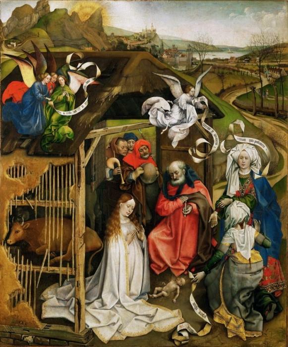 Робер Кампен «Рождество Христово» 1420-1425 гг. 84,1 х 69,9 см  Дижон, Музей изящных искусств.