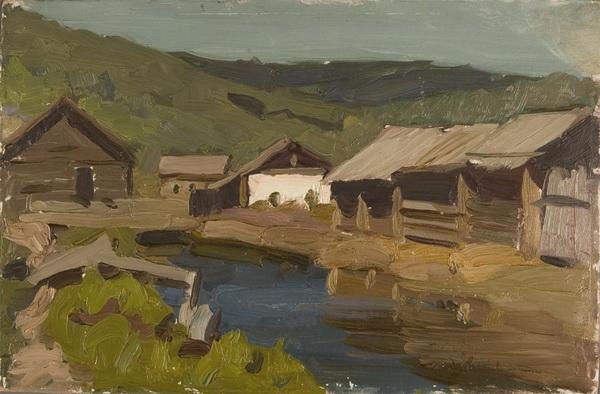 В.Б. Скуридин «Сибирская деревня» Картон, масло. 1958 г.